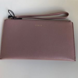 Furla leather wristlet clutch in blush